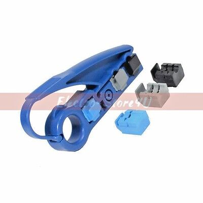 RG59 RG6 UTP Coaxial Cable Stripper Tool - Cat5e Cat6 - Coax Jacket Strip Cutter