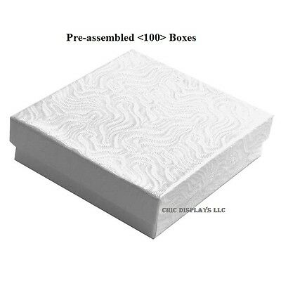 LOT OF 100 WHITE COTTON FILLED BOX JEWELRY GIFT BOXES BRACELET BOX 3.5x3.5 <HOT>
