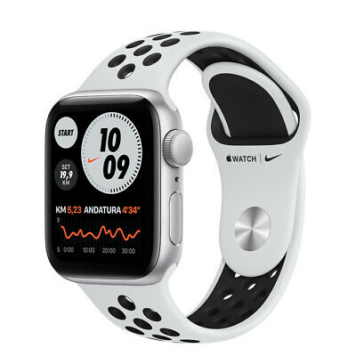 Apple Watch SE GPS+Cell 40mm Alluminio Argento Cinturino Nike Sport Platino/nero