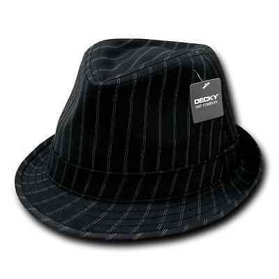 Decky Doppel Streifen Nadelstreifen Schwarz Weiß Fedora Fedoras Hüte