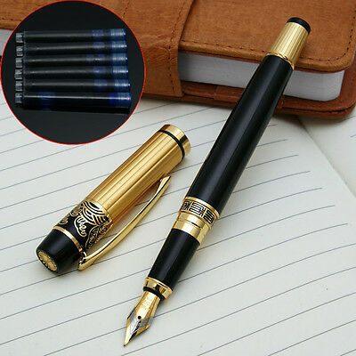 NEW HERO 901 Black Gold Medium Nib Fountain Pen with 6 HERO cartridges