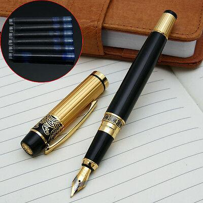 NEW HERO 901 Black Gold Medium Nib Fountain Pen with 6 HERO cartridges