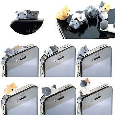6pcs Cheese Cat 3.5mm Anti Dust Earphone Jack Plug Stopper Cell phone Cap