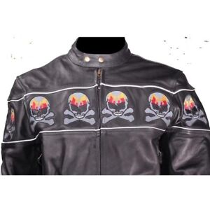 CHECK IT OUT  Leather motorcycle Jacket With Skulls