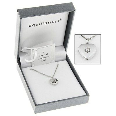 Equilibrium Silver Plated Necklace Heart Locket Christening Childs Keepsake Gift