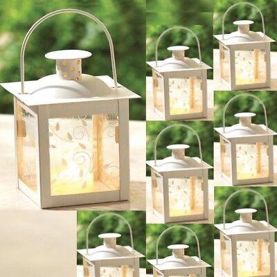 8 Vine Design Mini Lantern White Small Candleholder Wedding Centerpieces