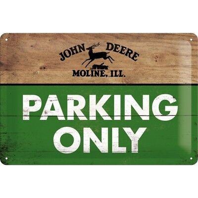 John Deere Parking Only 20x30 Reklame Deko Blechschild geprägt Vintage 1091 (John Deere Parking)