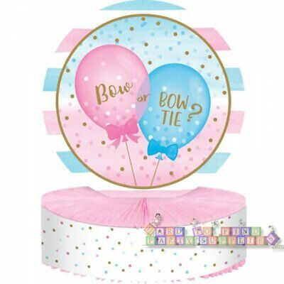 Boy Honeycomb Centerpiece - GENDER REVEAL Girl or Boy Balloons HONEYCOMB CENTERPIECE ~Table Shower Supplies