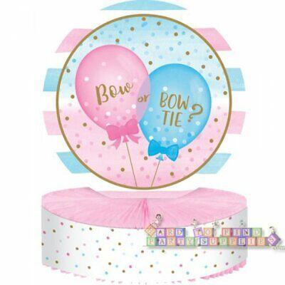 GENDER REVEAL Girl or Boy Balloons HONEYCOMB CENTERPIECE ~Table Shower Supplies (Boy Gender Reveal)