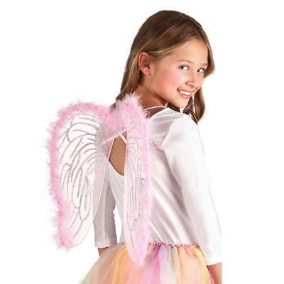 Feenflügel für Kinder mit Rosa Federn 40 cm, Feenkostüm Elfenkostüm Zubehör ()