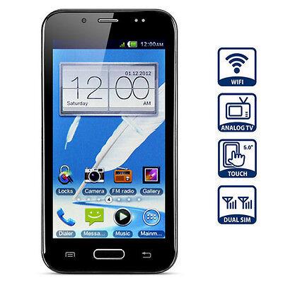 New Touch Screen Cell Phone w/FM Analog TV Dual Band Wifi EU Plug Black 5.0''