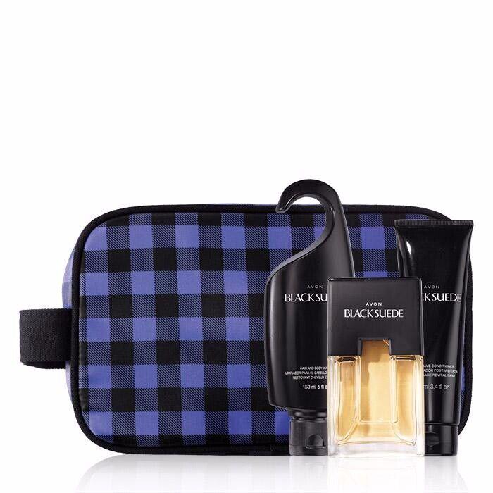 Avon Men's Black Suede Dopp Kit Aftershave/Bodywash/Cologne