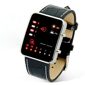 Herren Damen Digital Red LED Armbanduhr Sport Watch Binary PU Leder Wristwatch