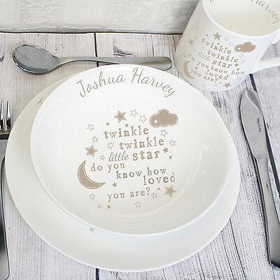 Personalised Childrens Breakfast Set Baby Twinkle Plate Mug Bowl Lunch Dinner UK