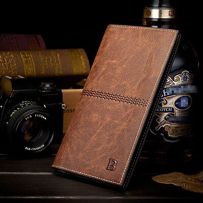 Men's Leather Bifold ID Card Holder Long Wallet Purse Checkbook Clutch Billfold