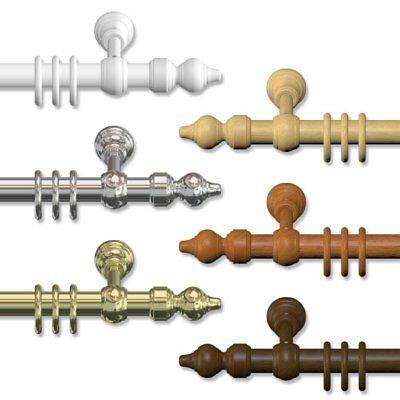 Klassische Gardinenstangen 28 mm Ø, Vorhangstangen aus Holz & Metall-Kunststoff