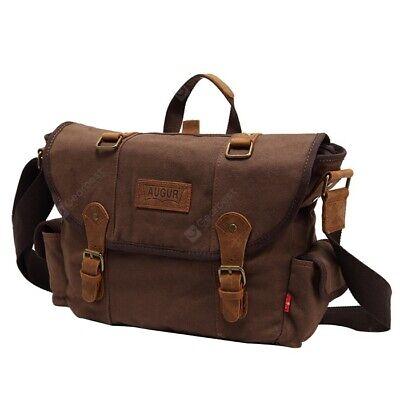 AUGUR STRAUSS & CO Coffee Classic Vintage Canvas Messenger Bag Cross Body  Bag Canvas Coffee