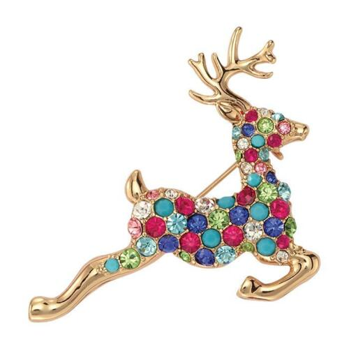 AVON REINDEER BROOCH, GOLDTONE WITH PAVE ACCENTS NIB