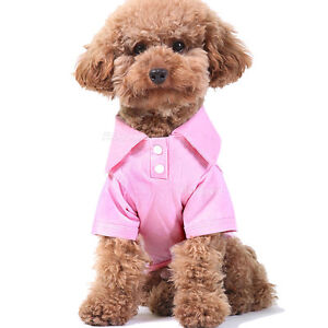 Pet Dog Cat Puppy Polo T-Shirt Suit Clothes Outfit Apparel Coats Tops
