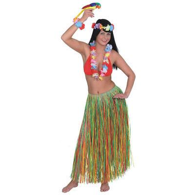 Bastrock 90 cm bunt, Hawaiikostüm Zubehör Fransenrock Karneval Verkleidung
