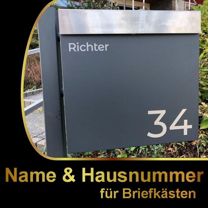 ### Briefkasten Hausnummer + Name Aufkleber - Farbauswahl, Wunschtext, Schild ##