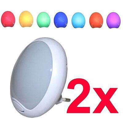 2 x LED NACHTLICHT NACHTLAMPE ORIENTIERUNGSLICHT LAMPE LEUCHTE mit FARBWECHSEL