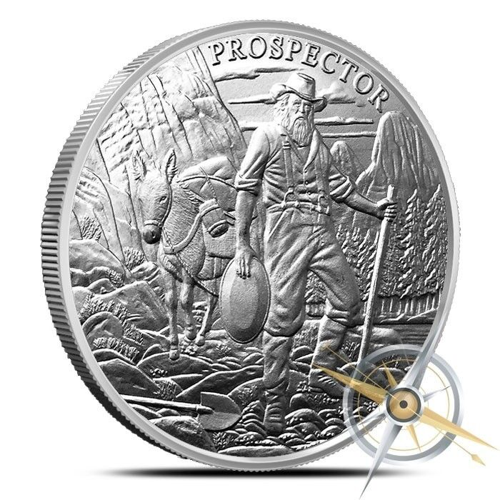 1~OZ ~ PURE .999 SILVER ~NEW~ 2018  PROSPECTOR  ROUND ~ $28.88 ~ BUY IT NOW SALE