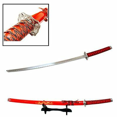 "40"" Katana Sword RED Dragon Carbon Steel w/ Stand Collectible Samurai Ninja"
