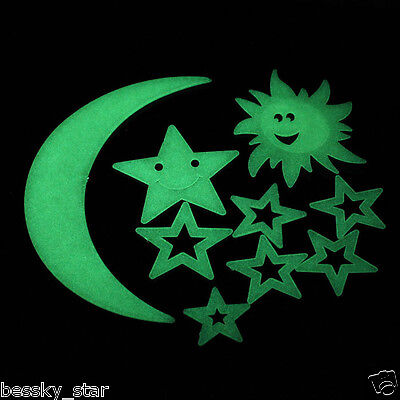 Modren Decor Stars Moon Sun Glow In The Dark Luminous Home Wall Stickers Decal A