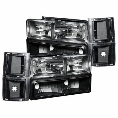 Anzo USA Headlights Black w/ Signal/Side Marker Lights for GM C/K/Tahoe 94-00