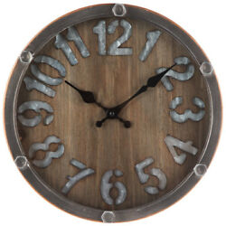 Metal Framed Wall Clock Unique Galvanized Industrial Home Accent