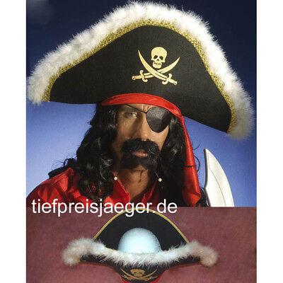 PIRATENHUT + FEDERN Karneval Fasching Piraten Seeräuber Hut Kostüm Zubehör 8482