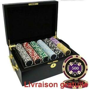 Ensemble de jetons Poker de luxe / 500pcs Ace Casino Laser Poker Chips Set Wood Case