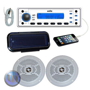 NEW-AXIS-Marine-Flush-Mount-Combo-MP3-CD-Radio-Ipod-Stereo-Kit-Splashproof-Desig