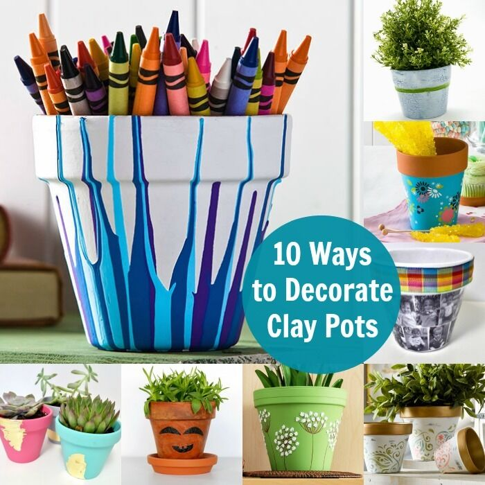 10 unique ways to decorate clay pots ebay for Art and craft pot decoration