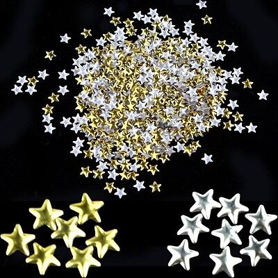 HOT Unique Nail Art 250 Pieces Gold Silver 5mm Star Metal Studs for Nails Phone