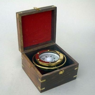 BRASS GIMBAL COMPASS BOXED ~ NAUTICAL COMPASS ~ MARITIME ~ PIRATE ~ COMPASS