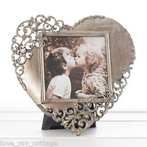 Vintage Chic RUSTIC STEEL Lace Love HEART Metal Picture Photo Frame Wedding Gift