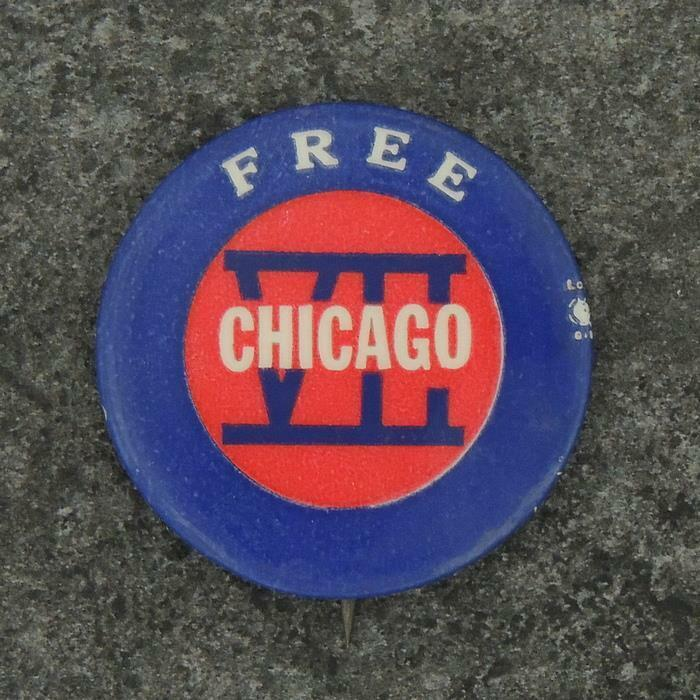 Free Chicago 7 Trial  Protest Cause Larry Fox Pinback Button