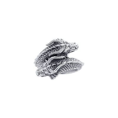 - Merlin's Twin Dragon sterling Silver Ring peter stone detailed and unique