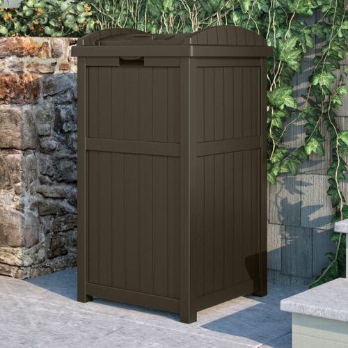 Suncast Hideaway Outdoor 33 Gallon Garbage Waste Trash Can Bin, Java