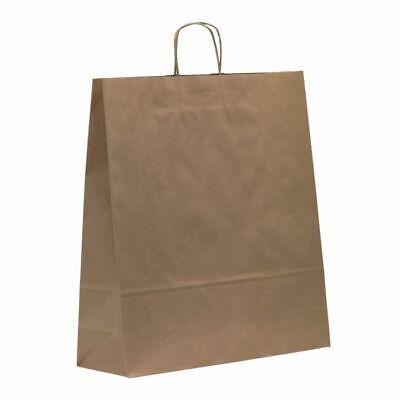 Morplan, Brown Matt, Kraft Paper Carrier Bags, Large 45 x 48 x 17 cm, Pack of 50