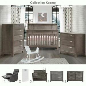 5 morceaux Kozmo: Bureau 3 tiroirs + Bureau double + lit de bébé convertible 4 en 1 + Matelas Peaceful Night + Chaise Re