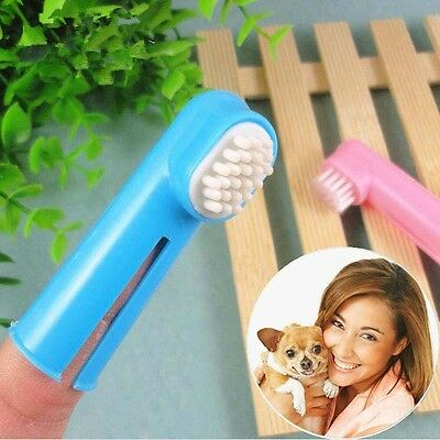 2Pcs Pet Puppy Dog Finger Toothbrush Grooming Dental Cleaning Teeth Care Brush