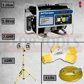 JEFFERSON PETROL GENERATOR AVR 3.0KW + LED SITE LIGHT + THROW LEAD + SPLITTER