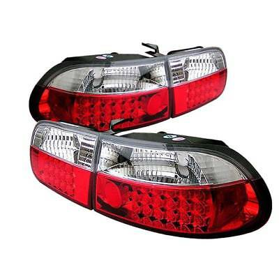 4dr Red Clear Led - Spyder LED Tail Lights - Red Clear for 92-95 Honda Civic 2/4DR