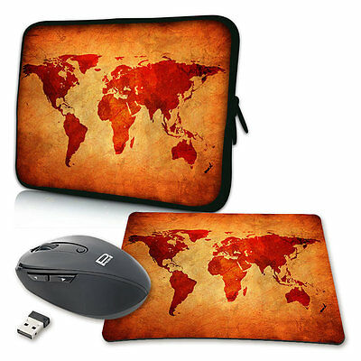 Notebook Laptop Tasche + Mauspad / Maus 10 13 15 17 Zoll Hülle, Brown Global Map