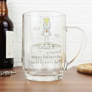 PERSONALISED Glass Tankard for Dad Men Him Birthday Christmas Fathers Day Gifts