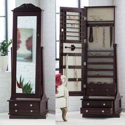 Jewelry Armoire Swivel Cheval Mirror Wood Locking Cherry Finish Bedroom New