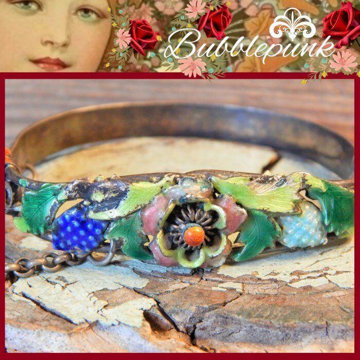 Antique Chinese Export Silver Cloisonne Enamel Floral Cuff Bracelet ~ Estate